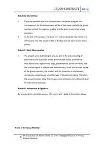 Team Contract Template by Team Work Contract For A Pbl Approach