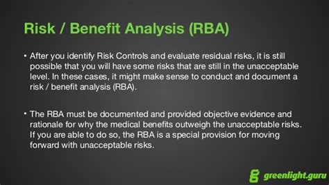 Risk Management For Medical Devices Iso 14971 Overview Risk Benefit Analysis Template