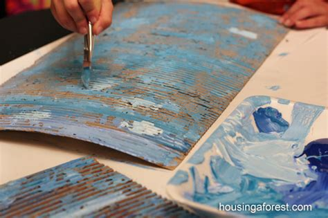 how to give acrylic paint on canvas texture cardboard apple trees housing a forest