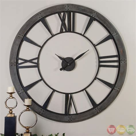big wall clocks ronan dark rustic bronze large wall clock 06084