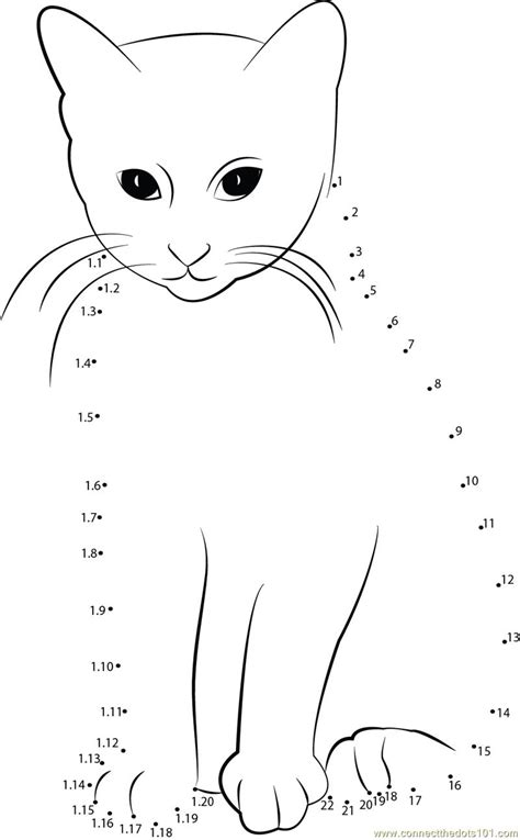 printable dot to dot cat smart cat dot to dot printable worksheet connect the dots