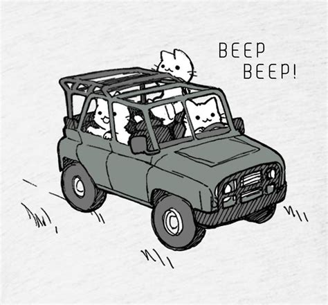 Tote Care Beep beep beep cats in a jeep shirt justduet