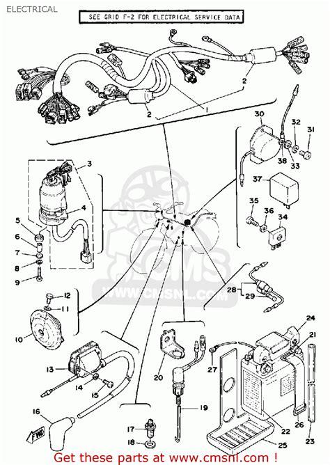 yamaha xt500 1979 usa canada electrical schematic partsfiche
