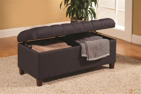 navy blue storage bench dark brown transitional ottoman tufted storage bench