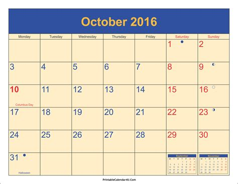Calendar For 2016 With Holidays October 2016 Calendar Printable With Holidays Pdf And Jpg