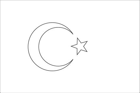 coloring page of turkey flag flag of turkey 2009 clipart etc