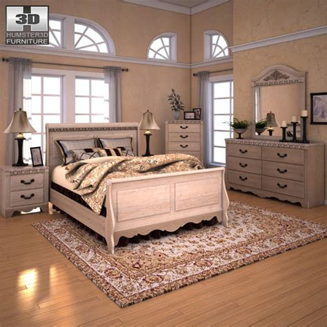 silverglade bedroom set silverglade sleigh bedroom set 3d model hum3d