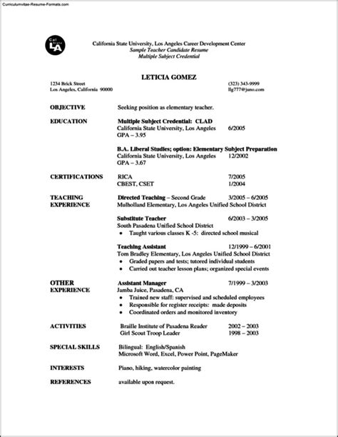 Resume Template Microsoft Word 2007 by Resume Templates Microsoft Word 2007 Free