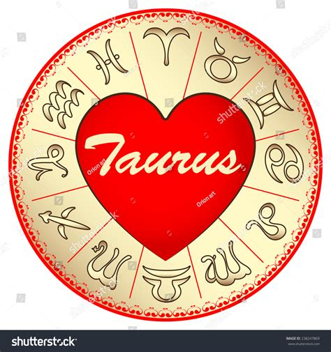 valentines day horoscope zodiac sign taurus on valentines stock vector