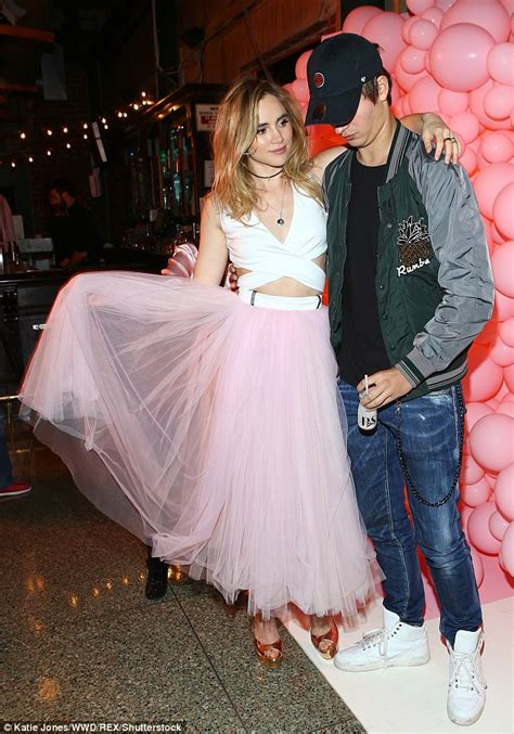 tulle p da ansel elgort cosies up to suki waterhouse at launch