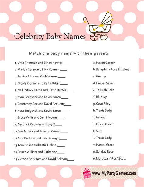 Baby Shower Baby Names by Free Printable Baby Name