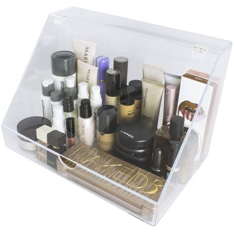 Custom Acrylic Make Up Box acrylic makeup organizer display palette holder with slanted front open lid sorbus