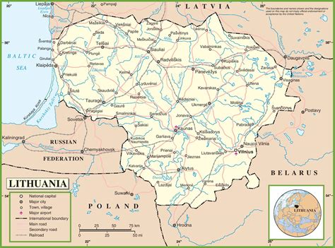 lithuania world map lithuania road map