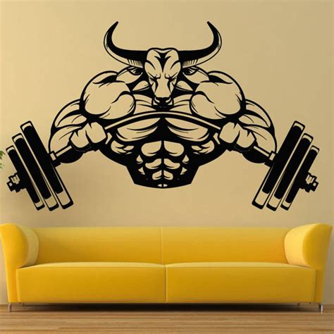 gym sticker barbell bull fitness decal body building