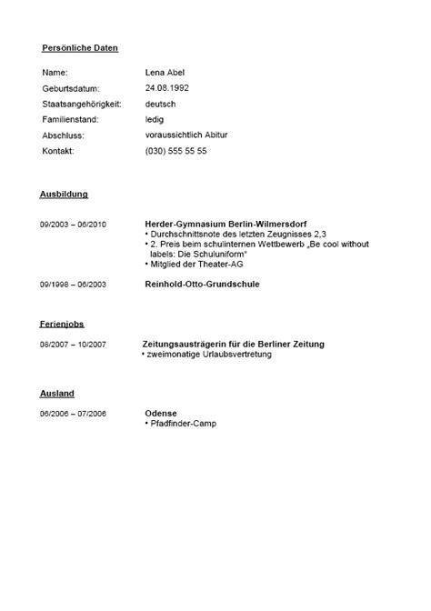 Lebenslauf Muster Vorlage Schüler Lebenslauf Praktikum Sch 252 Ler Yournjwebmaster