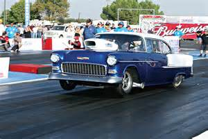 a monstrous 55 chevy gasser drag racing magazine