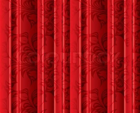 seamless floral texture   red curtains stock photo