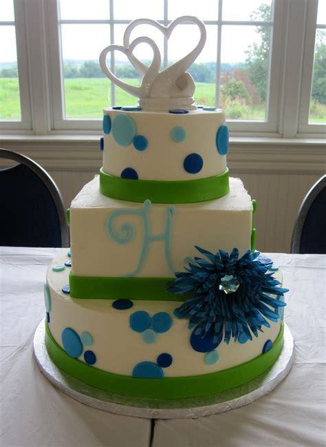 Lime Green and Turquoise Wedding Cake Lexington KY   The