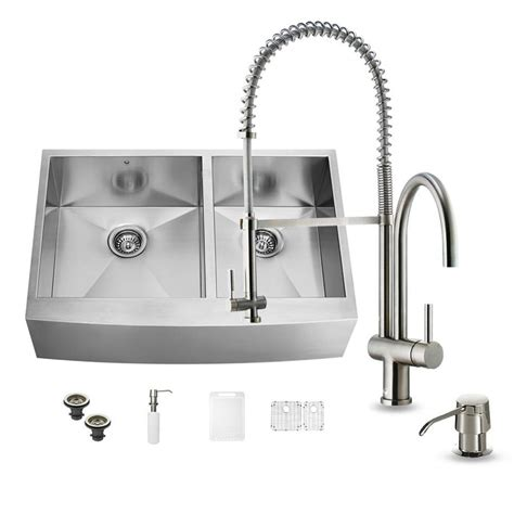 Shop Vigo 36 0 In X 22 25 In Double Basin Stainless Steel 36 X 22 Kitchen Sink