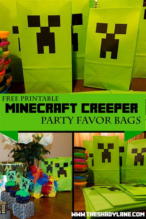 free printable minecraft creeper party bags the shady lane