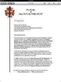Pastoral Resignation Letter by Obnoxious Exclusive Bishop Morton S Gospel Baptist Fellowship Officially Splits Bishop