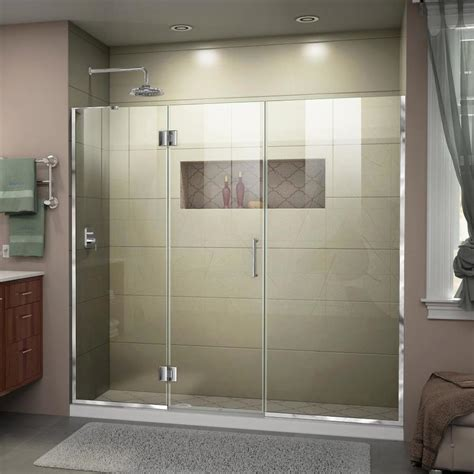 5 Shower Door Shop Dreamline Unidoor X 62 In To 62 5 In W Frameless Chrome Hinged Shower Door At Lowes