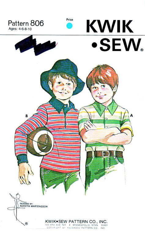 sewing pattern rugby shirt kwik sew sewing pattern 806 boys sizes 4 10 pullover knit