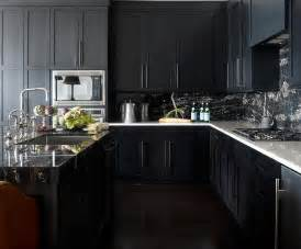 Black Kitchen Cabinets With White Countertops noir kitchen cabinets with white marble countertops contemporary