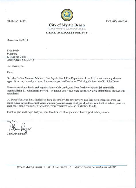 Thank You Letter For Firefighter Sconfire Receives Thank You Letter From The Myrtle Department Sconfire