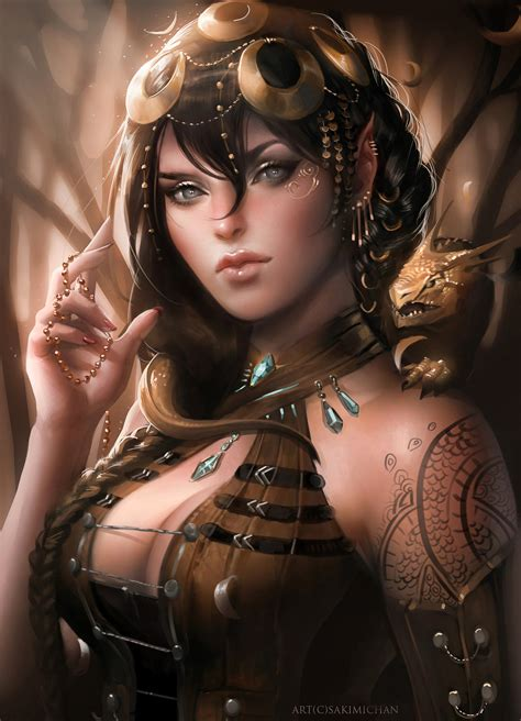 digital art by sakimichan allias yue wang magic art world