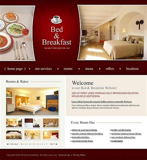 bed and breakfast website template 14141