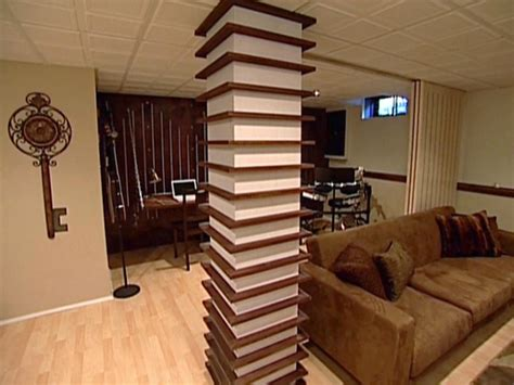 wood column wrapped with shelves hgtv