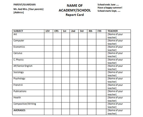 Report Card Template Free Printable by Report Card Template For Homeschools Or Colleges Free Ms