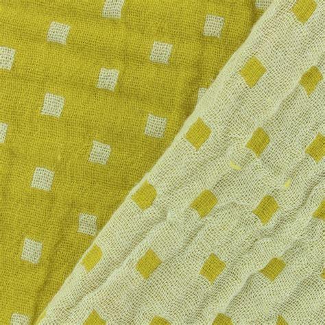 patterned gauze fabric double gauze fabric squares yellow
