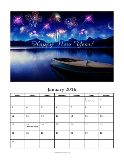 january 2016 photo calendar template free printable