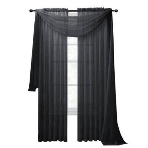 Charcoal Sheer Curtains Window Elements Sheer Voile Charcoal Curtain Scarf 56 In W X 216 In L Ymc003056 The