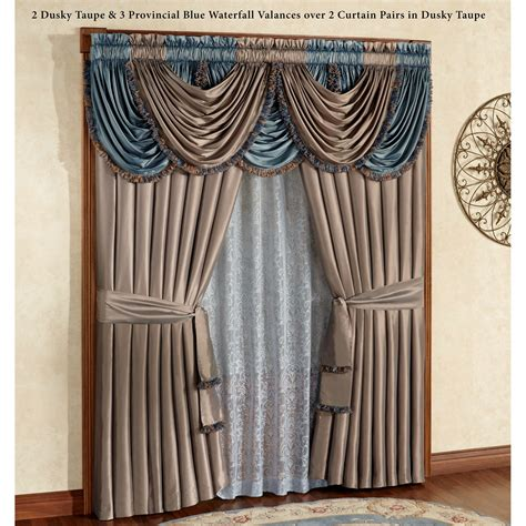 curtains with waterfall valance royale waterfall valance window treatment