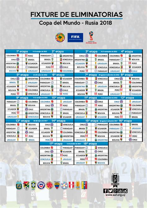 Calendario Colombia Eliminatorias Rusia 2018 Conmebol Fixture De Eliminatorias