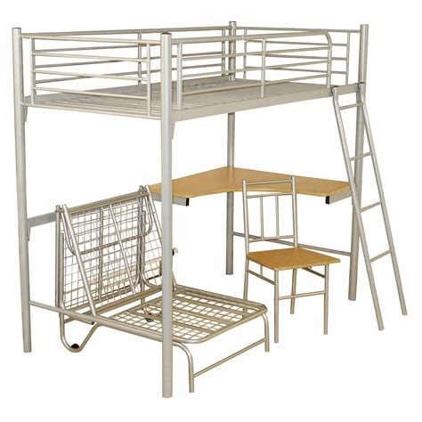 metal frame bunk bed with desk study bunk bed frame with futon chair next day select