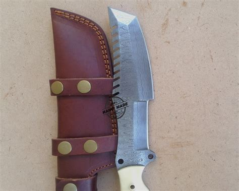 Handmade Knife Sheath - custom handmade damascus tracker knife with leather
