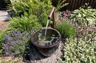 simple water feature for backyard interior