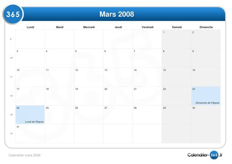 Calendrier Mars 2008 Calendrier Mars 2008