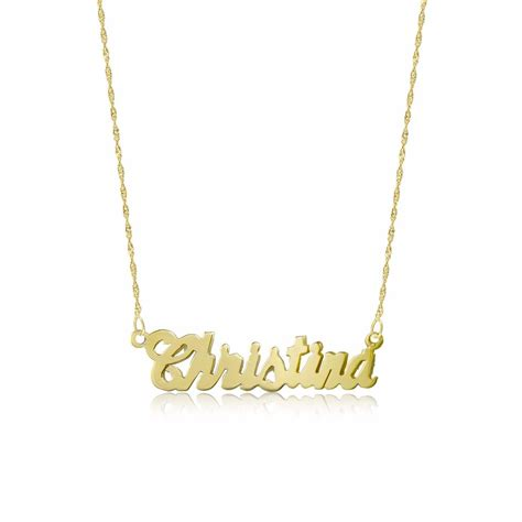 14k solid yellow gold personalized custom name necklace