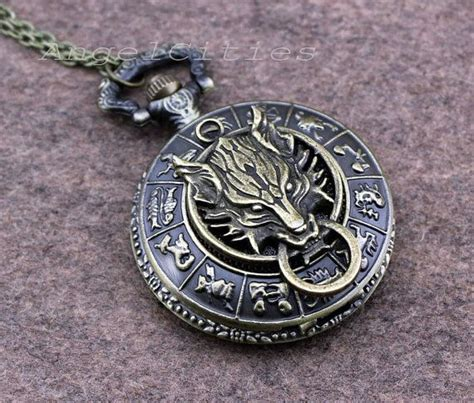 antique bronze wolf pocket necklace retro carve 12