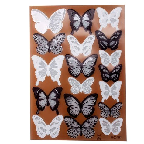 black 3d butterfly decal wall 18pcs black white 3d butterfly sticker design decal