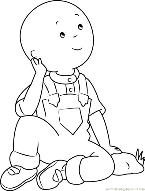 caillou thinking coloring page free caillou coloring