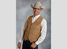 Roper Cow Suede Leather Western Vest - Brown - Big Sizes ... Justin Boots For Men