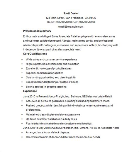 Retail Sales Resume Sles by Retail Resume Template 10 Free Sles Exles