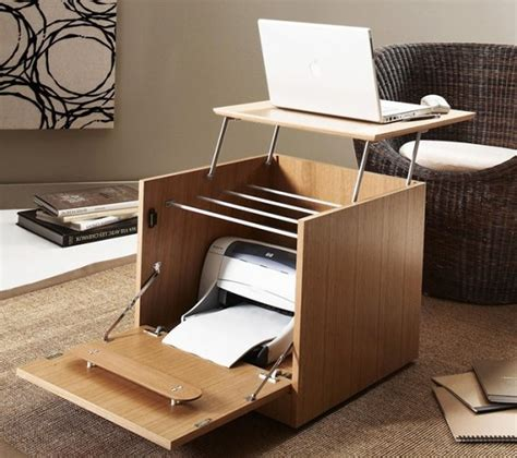 Small Home Office With Two Desks Creative Portable Home Office Desk With Printer Storage