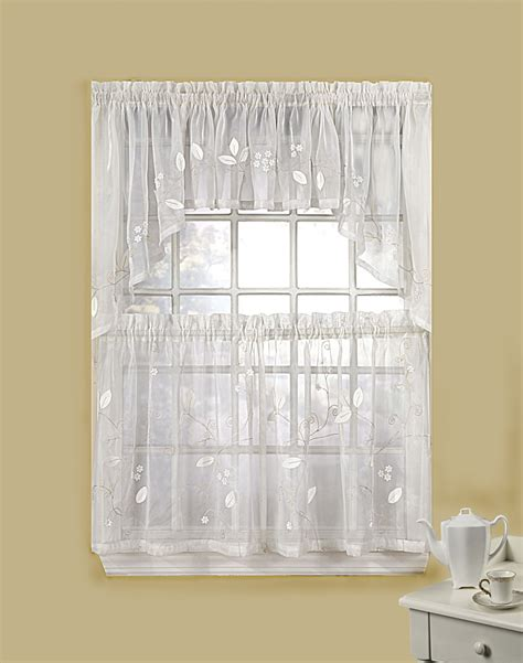 Kitchen Drapes And Curtains Leaf Applique 5 Kitchen Curtain Tier Set Curtainworks